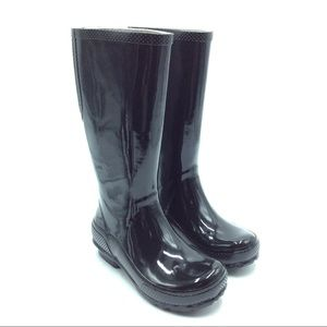 Crocs Black Tall Rubber Rainboots